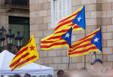 Få Catalonia flaggor Arkivfoto