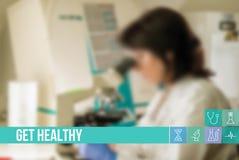 Få den sunda medicinska begreppsbilden med symboler och doktorer på bakgrund Fotografering för Bildbyråer