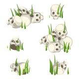 Få högar av mänskliga skallar i gräset royaltyfri illustrationer