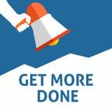 FÅ MER GJORD meddelande Hållande megafon för hand med anförandebubblan royaltyfri illustrationer
