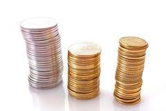 Få myntkolonner Arkivfoton