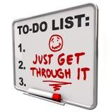 Få precis till och med det beslutsamhetuppmuntranmeddelandet Arkivfoton