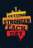 Få starkare varje dag Citationstecken för genomkörare- och konditionidrottshallmotivation Idérik affisch för Grunge för sportvekt royaltyfri illustrationer