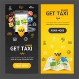 Få taxien den tjänste- banerVecrtical uppsättningen vektor Arkivbild