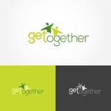 Få tillsammans logoen stock illustrationer