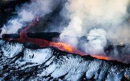 Få utbrott vulkan i Island royaltyfria bilder