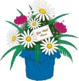 Få väl kort- och blommavektorillustrationen vektor illustrationer