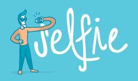 Fåfäng man som tar en selfie bredvid ordet stock illustrationer
