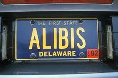 Fåfängaregistreringsskylt - Delaware royaltyfria bilder