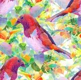 Fågel, bär, blommor och sidor Royaltyfria Bilder