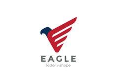 Fågel för hök för falk för vektor för Eagle Logo abstrakt begreppdesign Royaltyfri Foto