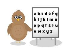 Fågel med alfabetbokstäver Arkivfoto