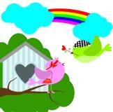 Fågel med sweethome Arkivfoton