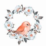 Fågel och blom- krans 2 Arkivbilder