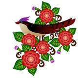 Fågel och blommor Arkivbild