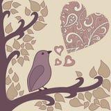 Fågel-och-hjärta Arkivfoto