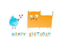 Fågel- och kattkort för lycklig födelsedag Vektor Illustrationer