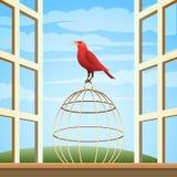Fågel på en bur Royaltyfri Foto