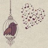 Fågel-sjunga-i--bur Fotografering för Bildbyråer
