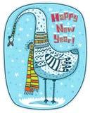 Fågel, vinter och lyckligt nytt år Arkivfoto