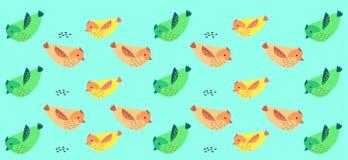 Fågelbakgrund - modell med gräsplan? rosa och gula fåglar stock illustrationer