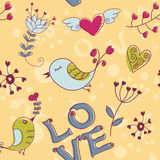 fågelblommor älskar seamless textur Royaltyfria Foton