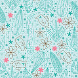Fågelblommor Line Draw Seamless Pattern.eps Royaltyfria Foton