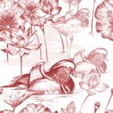 fågelblommor mönsan seamless Royaltyfria Bilder