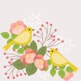 fågelblommor ställde in etikettsvektorn vektor illustrationer