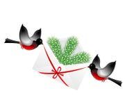 Fågelbullfinchs bär ett kuvert med en silver f royaltyfri illustrationer