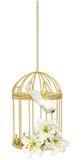 fågelburen blommar guld Arkivfoton