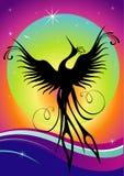 fågelfödelsephoenix beträffande silhouette Royaltyfria Bilder