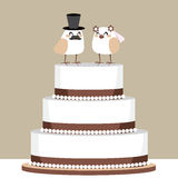Fågelförälskelsebröllopstårta Royaltyfri Bild