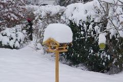 Fågelförlagematare med lotten av snö på taket royaltyfri foto