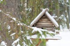 Fågelförlagematare på en filial i vinterdag arkivfoton