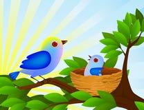 fågelfamilj Arkivfoton