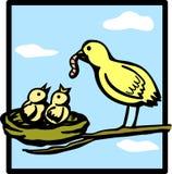 fågelfamilj Arkivfoto