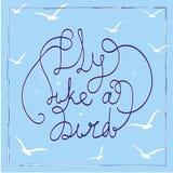 fågelflugan like Hand-dragit bokstävercitationstecken på den blåa bakgrunden Fotografering för Bildbyråer