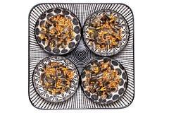 Fågelfrö Närbilden av en dekorativ platta med fyra bunkar med svart solrosfrö och annan kärnar ur och muttrar för lös matning arkivbilder