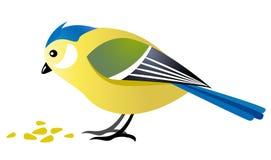 fågelhavre som äter titen royaltyfri illustrationer