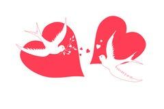fågelhjärtor stock illustrationer