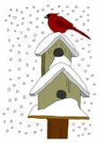 Fågelhus i snön Fotografering för Bildbyråer