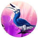 Fågelillustration av en tropisk fågel En hornbillfågel vektor illustrationer