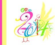 fågelkonst för nytt år 2014 stock illustrationer