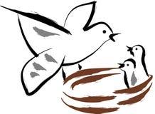 fågelmatning stock illustrationer
