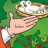 fågelmatning Vektor Illustrationer