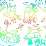 Fågelmodell Samling av gullig hand drog fåglar stock illustrationer