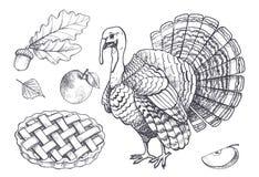 Fågeln Turkiet och den bakade pajen Apple ställde in symbolsvektorn royaltyfri illustrationer