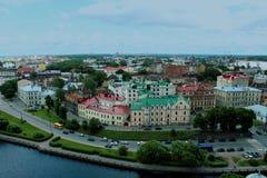 Fågelperspektiv från däck för Vyborg slottobservation Arkivbilder