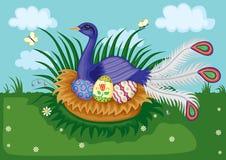 fågelrede vektor illustrationer